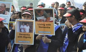 Nursing students advocating rights of people with dementia on the streets of Kolkata